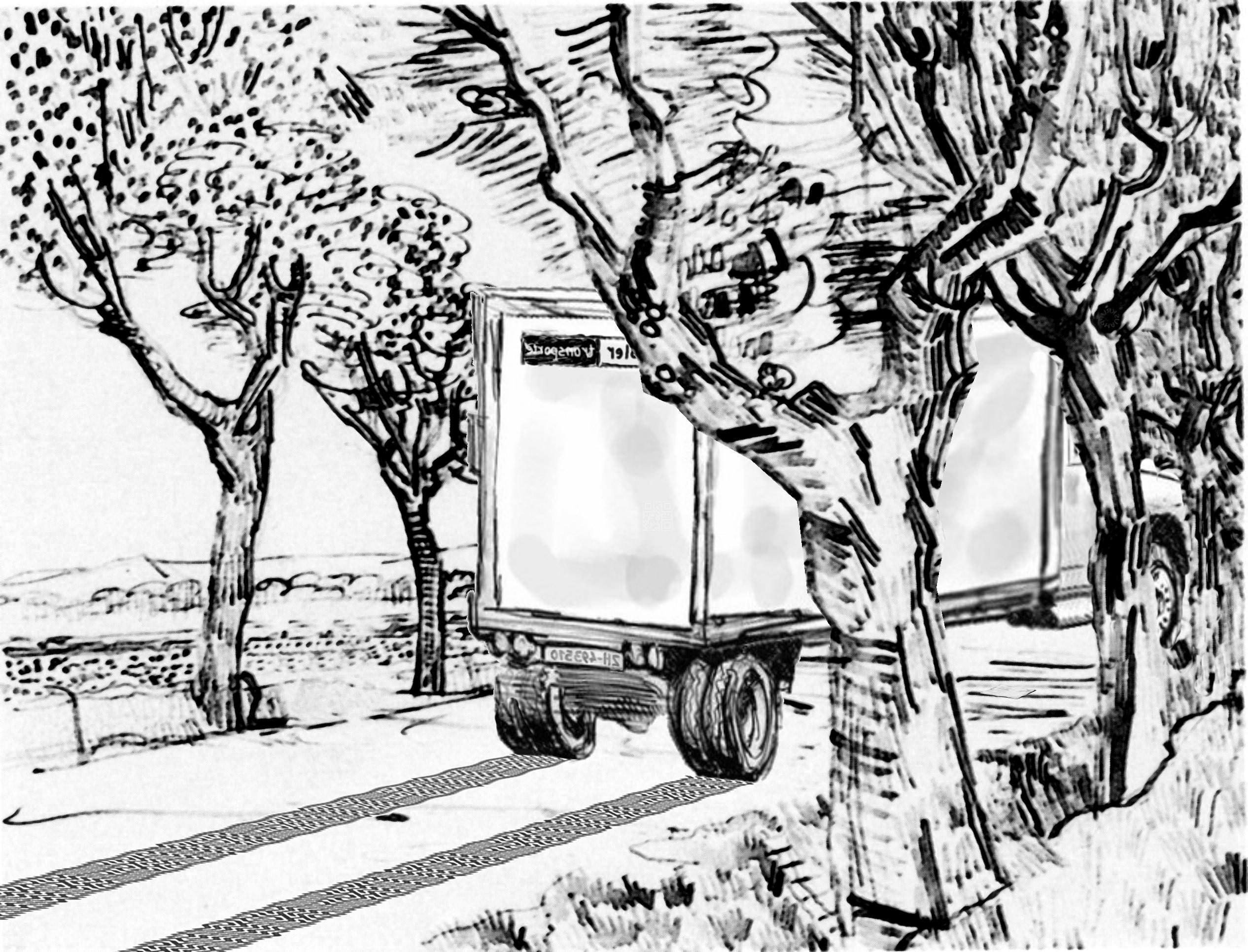 Skizze: Der Transporter auf dem Feldweg